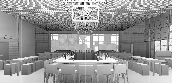 Brewing Tanks in the Background of the Bar Area
