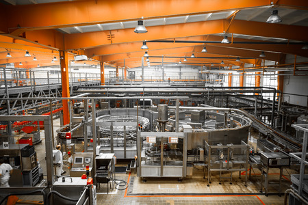 interior of a modern brewery, equipment, tools