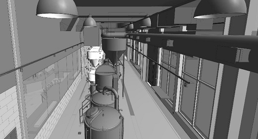 Overhead View of Brewhouse Tanks