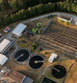 Wastewater treatment facility from the air