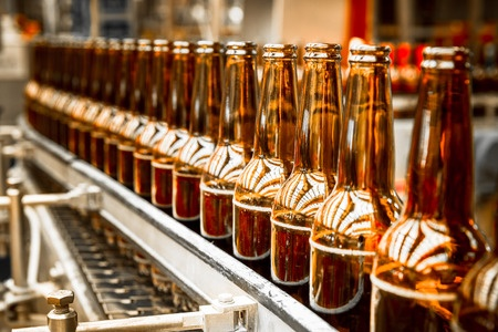 beer bottles on the conveyor belt, Tunnel Pasteurizers